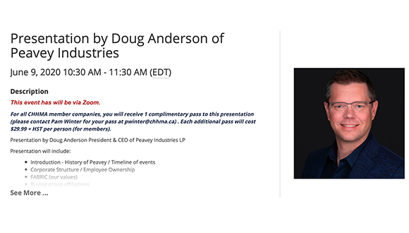 Join Us Next Tuesday for Presentation by Doug Anderson of Peavey Industries